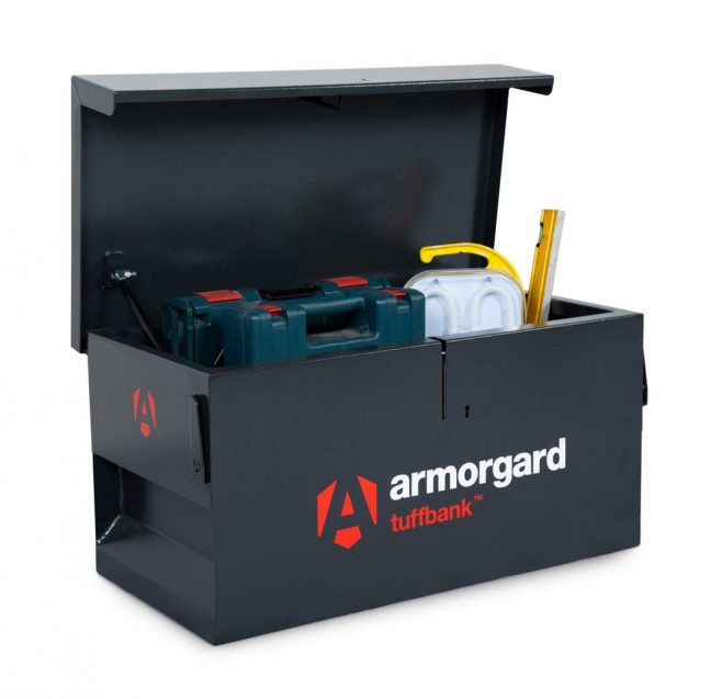 TB1 secure storage chest lid open with tools