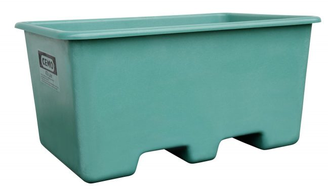 400 litre green plastic container with forklift pockets
