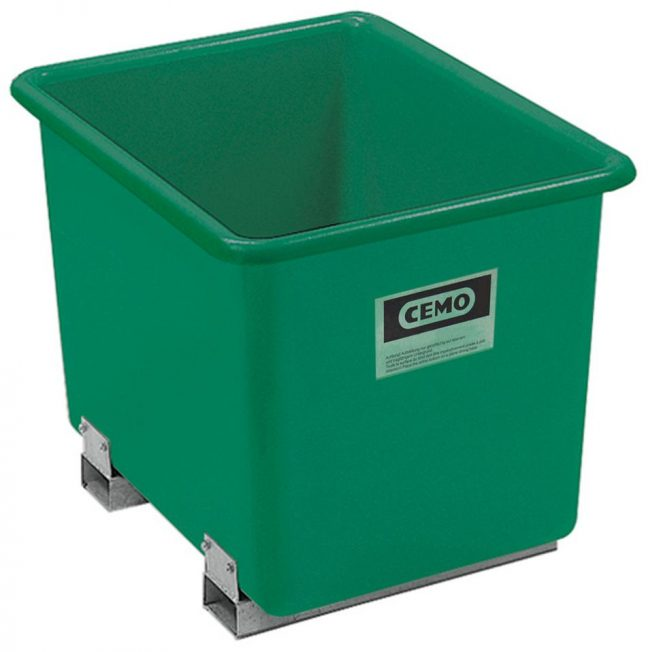 Green plastic container forklift pockets
