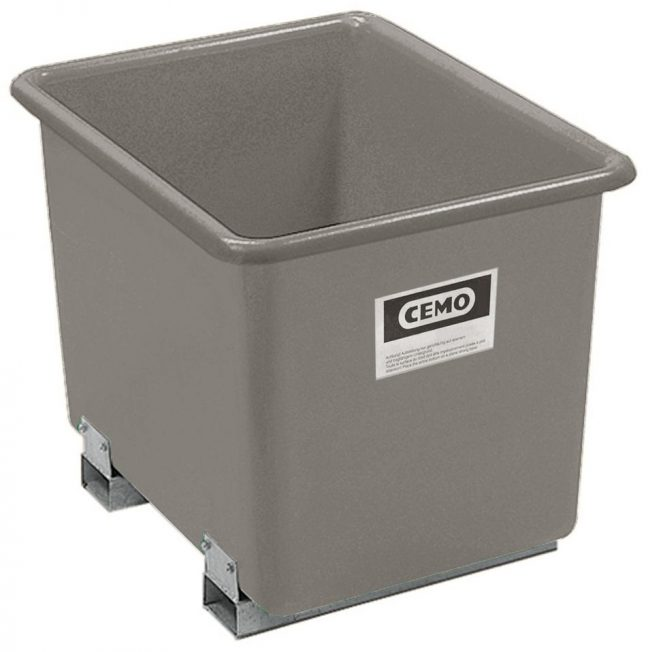 grey plastic container with forklift pockets
