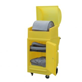 Mobile Spill Roll Station with Lockable Door & Wheels