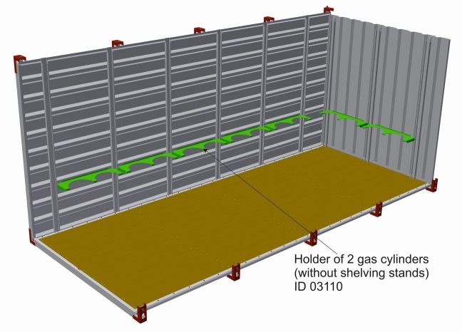 Holder of 2 gas cylinders without shelving stands