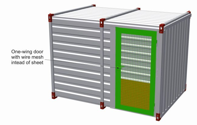 One wing door with wire mesh instead of sheet