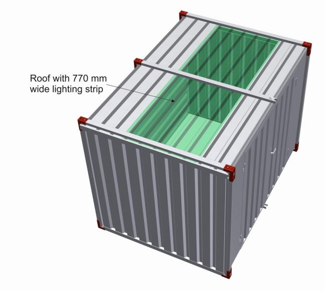 Roof with 770 mm wide lighting strip