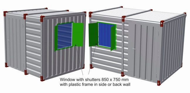 Window with shutters 850 x 750 mm with plastic frame in side or back wall