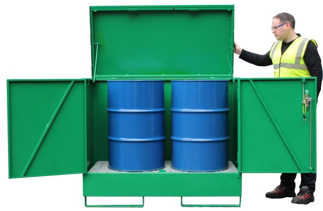VD2D double drum spill cabinet with 260 litre capacity bund