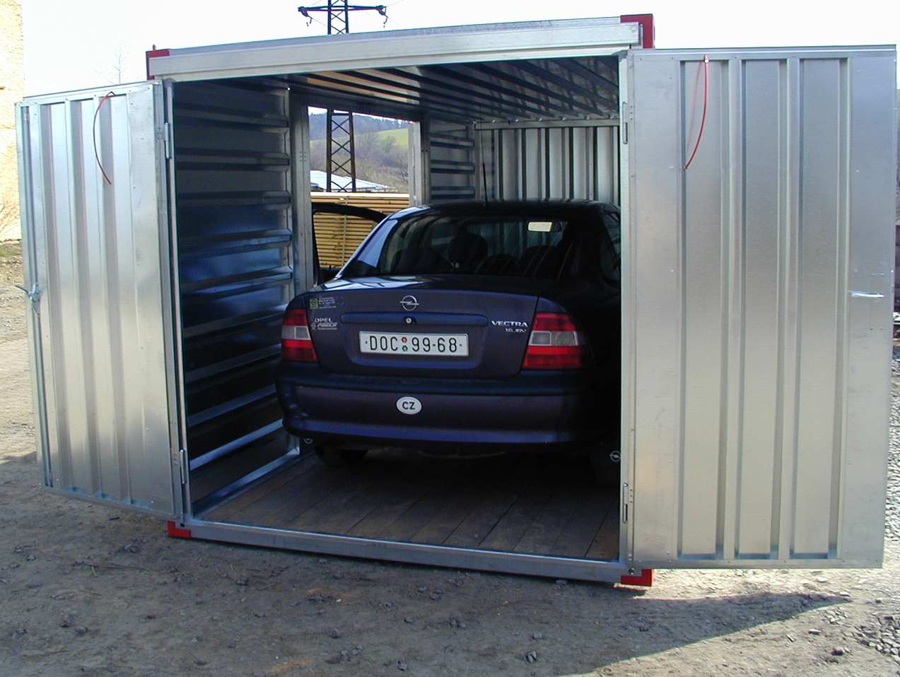 6m Carport with Side & Front Double Doors